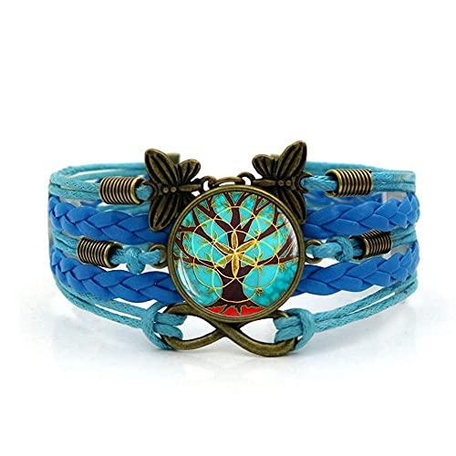 Pulsera tejida, árbol de cuerda azul de la planta de la vida, Pulsera de piedras preciosas de tiempo Multi-capa Mano tejida de vidrio Joyería de la joyería de las damas de la moda de la joyería de est
