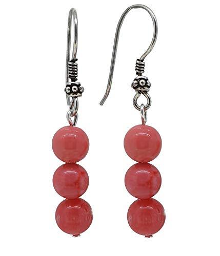 TreasureBay Pendientes colgantes de plata de ley y coral rosa natural