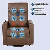 maxVitalis Fernsehsessel – Relaxsessel – Komfortsessel mit Aufstehhilfe, Wärmefunktion & Massage || ausklappbarer Seitentisch || inkl. Seitenfach (Braun) - 4