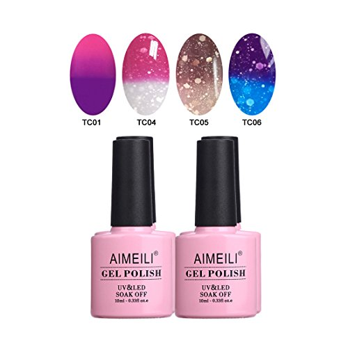 AIMEILI Temperature Color Changing Soak Off UV LED Chameleon Gel Nail Polish Set Of 4pcs X 10ml- Kit Set 8