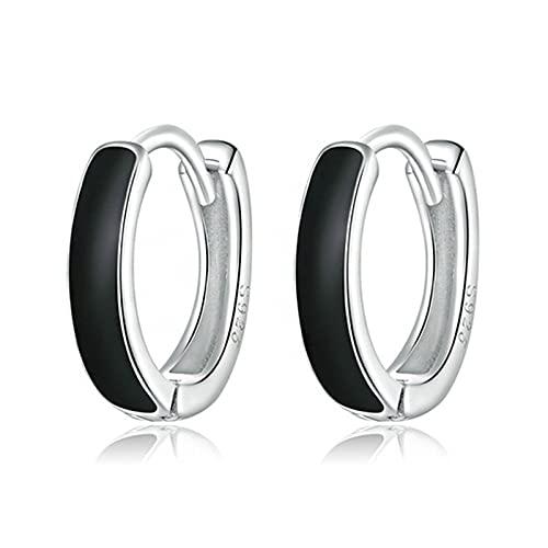Pendientes Simples En Blanco Y Negro - Pendientes De Plata Esterlina S925, Pendientes De Anillo De Goteo Negro