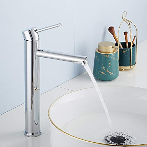 Grifo de Baño Lavabo Plateado de Caño Alto Cromado Monomando Mezclador Agua Fría y Caliente con Aireador para Cocina/Baño