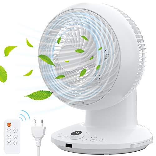 Ventilatore Circolare con Telecomando, Ventilatore per la Circolazione dell'aria, Funzione di Tempistica, Silenzioso, 4 Velocità, Rotazione Oscillante 360°, 3 Modalità per Casa Ufficio