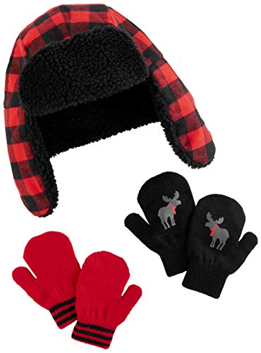 Simple Joys by Carter's Baby Boys' Toddler Hat and Mitten Set, Buffalo Check, 2T-5T