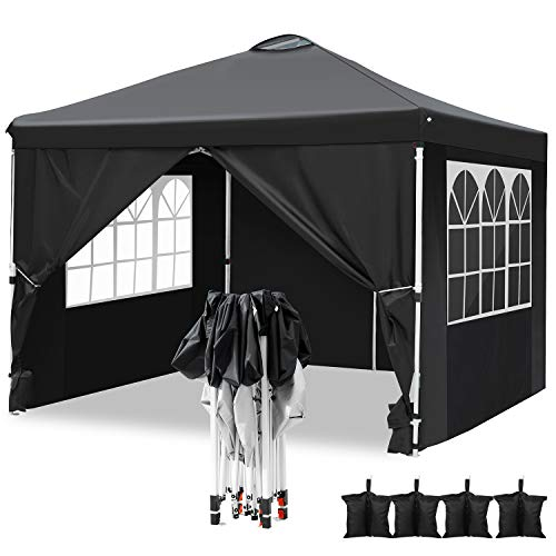 Hikole Carpa 3x3 Cenador Plegable Impermeables Carpas de Jardin Pop Up Gazebo con 4 Paredes Laterales y 4 Bolsa de Arena