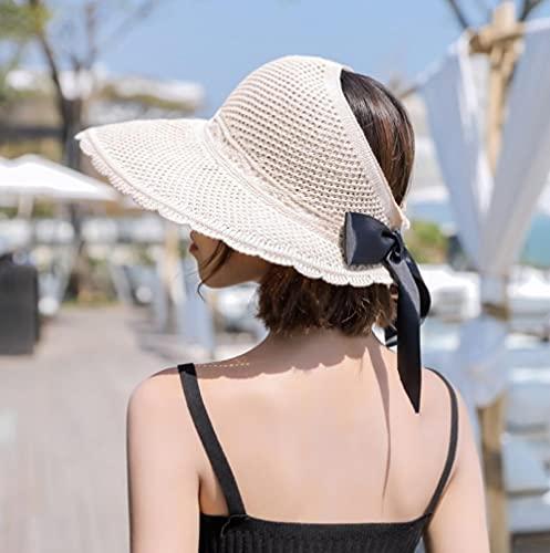 Sombrero cordobes Mujer,Sombrero Femenino 2021 Nuevo Primavera y Verano Pescador Sombrero Dama al Aire Libre Sol Sombrero de Copa vacío Sombrero de Paja Plegable-Arroz de Encaje Blanco_Ajustable