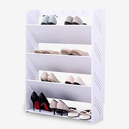 Zfggd Zapatero para Zapatos, Madera, Cubo Simple de plástico ensanchado Zapatero a Prueba de Polvo Blanco Cuatro/Cinco Capas (Size : 60x80CM)