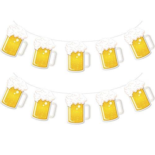 Beer Party & Oktoberfest Decoration - Brew Steins Garland - 10 Ft Long Mug Pennant Banner (2 Pack)
