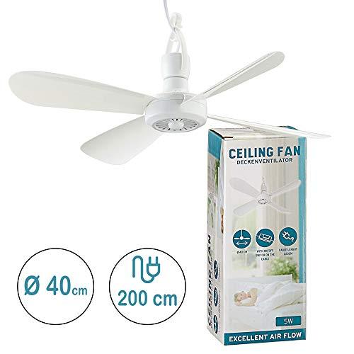 Mobiler Deckenventilator Ø 40cm inkl Deckenhaken und Eurostecker Ventilator zum hängen in weiß
