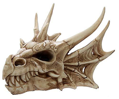 NAMENLOS Gothic Drachen-Totenkopf | Fantasy Drachenschädel, Skull, Kopfskulptur, Statue, Figur, B 22,5 cm