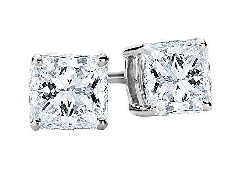 2/3 Carat Princess Cut Diamond Stud Earrings Earth-mined 14K White Gold (G-H VS1-VS2)