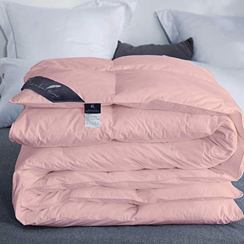 QUILT All Season Comforter White Goose Down Duvet, Winter Thickened Double, White Goose Down Fiber Filled 50%, Hypoallergenic Medium Warmth For All Seasons (Color : Pink, Size : 220 * 240)