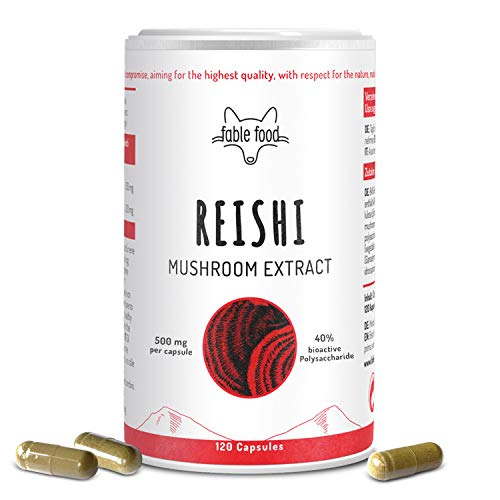 Reishi Pilz Extrakt - 120 Kapseln hochdosiert - 1000mg pro Tagesdosis - 40% bioaktive Polysaccharide pro Kapsel - 4 Monatsvorrat hergestellt in Deutschland - Pilz Extrakt...