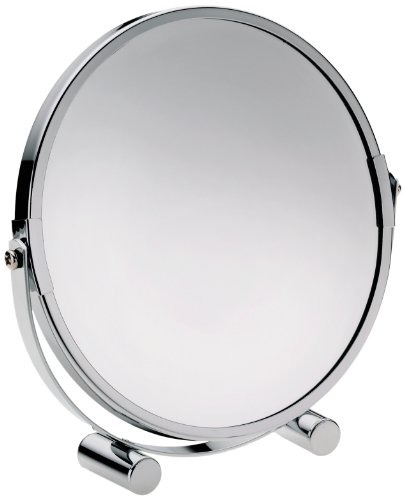 Kela 21909 Standspiegel, 1-/3-fach Vergrößerung, Ø 17,5cm, Metall, Gina, Silber Glänzend
