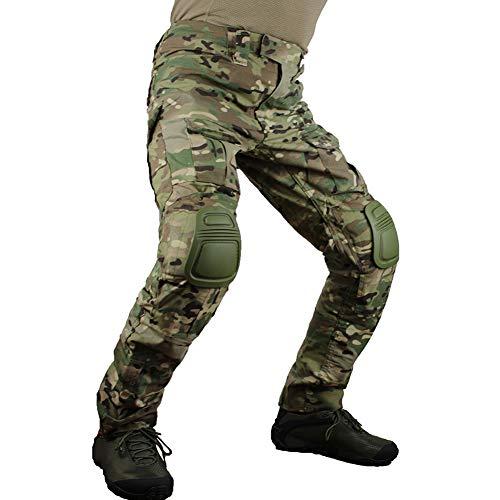 zuoxiangru Pantalones tácticos multicámara para Hombres Multi-Bolsillos Camuflaje Militar Pantalones de Caza de Combate Airsoft al Aire Libre con Rodilleras (CP, Tag 30)