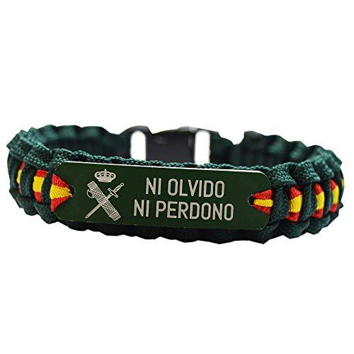 Green Line by Albero Pulsera Paracord Guardia Civil. Ni Olvido Ni Perdono con Escudo. Medidas: 21 x 1.6 cm (Puede Varia al ser Fabricada a Mano)