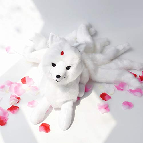 Pinkyo Shop Stuffed Animal Super Cute Soft White Nine Tails Fox Plush Toys Stuffed Animals Nine-Tailed Fox Kyuubi Kitsune Dolls Creative Gifts for Girls-26cm x 56cm