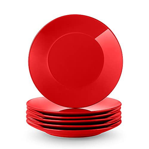 LOVECASA Serie Sweet Juego de 6 Platos de Postre, Vajilla de Porcelana. 21.5cm Platos Planos Redondos. Se Puede Usar en Lavavajillas, Rojo