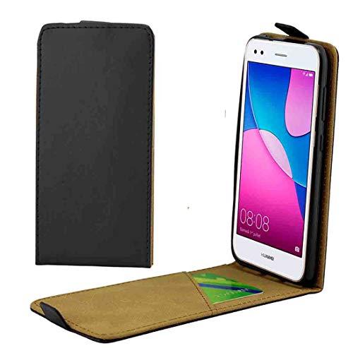 DACHENGJIN Funda móvil For Huawei P9 Lite Funda Protectora Trasera de Cuero con Tapa Vertical Mini con Ranura for Tarjeta (Negro) (Color : Black)