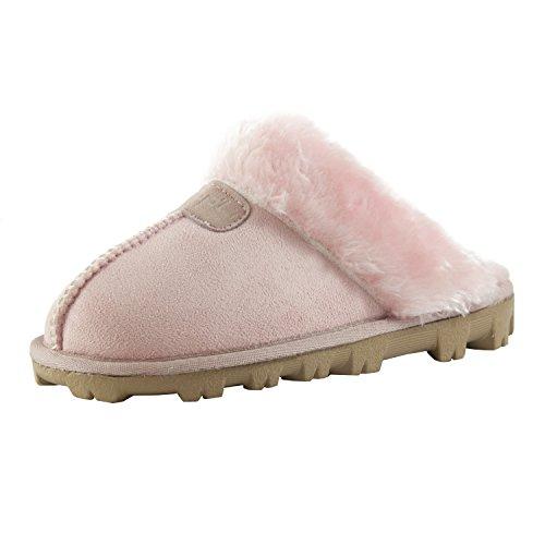 CLPP'LI Womens Slip on Faux Fur Warm Winter Mules Fluffy Suede Comfy Slippers-Pink-7