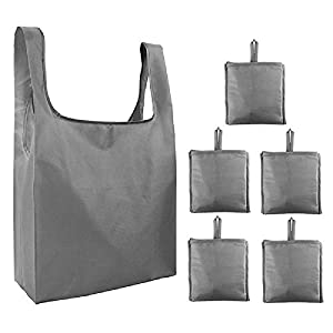 Honour Fashion エコバッグ 折りたたみ 大容量 コンパクト 収納 ショッピングバッグ 繰り返し使用 水洗い可 防水 おしゃれ 5個セット グレー
