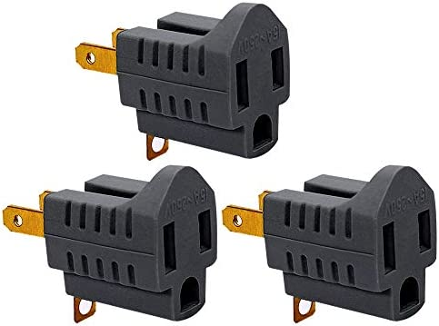 3 Pack 3 Prong to 2 Prong Adapter Grounding Converter 3 Pin to 2 Pin Power For wall Outlets product image