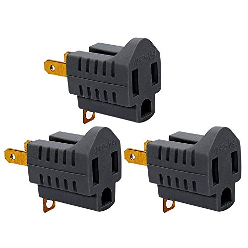 (3 Pack) 3-Prong to 2-Prong Adapter Grounding Converter 3 Pin to 2 Pin Power For wall Outlets Plugs, Grey