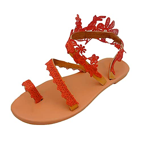 XOXSION Sandalias de verano para mujer, cómodas, planas, estilo vintage, con perlas, sandalias romanas, sandalias para fiestas, para el tiempo libre, sandalias de playa, color, talla 37 EU