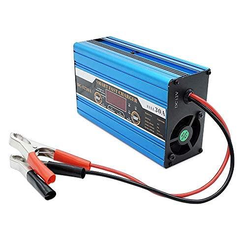 Caricabatteria intelligente, SUNWAN - Ricarica rapida 30A 12V per il tempo libero, display LCD per camper, camper, barca, roulotte