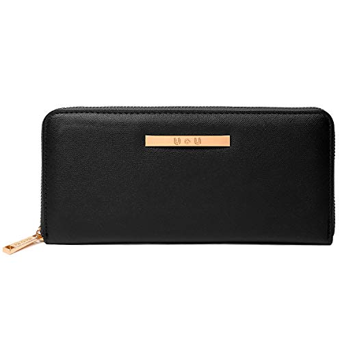 Credit Card Wallet for Women, U+U Long Clutch Wallet with Zip Around Large Capacity with 8 Cards Slots, Black