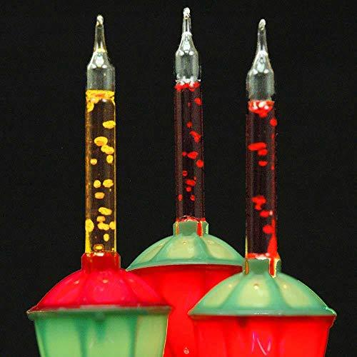 Novelty Lights, Inc. Bubble-Set-7 Tradtional Bubble Light and Stringer Set, 4 Orange/3 Red Bubble Fluids, Green Wire, C7/E12 Candelabra Base, 7 Pack