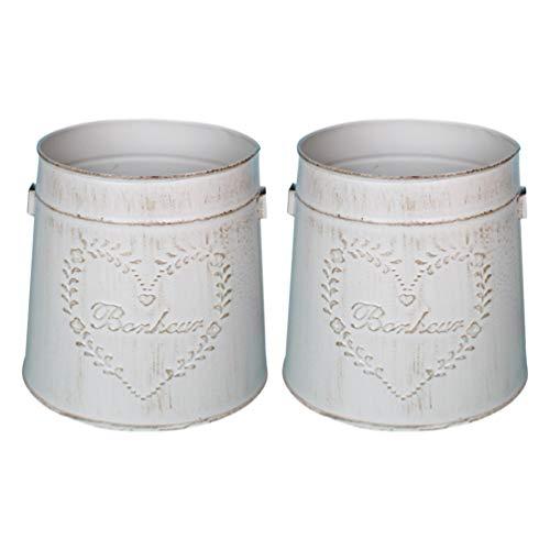 YARNOW 2 vasi vintage per fiori in ferro, stile shabby chic, decorazione rustica per fiori e piante grasse, in metallo, per primavera, balcone, soggiorno, decorazione da tavolo