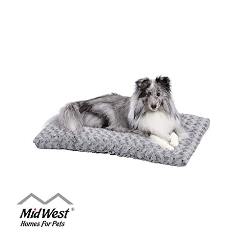 Plush Dog Bed | Ombré Swirl Dog Bed & Cat Bed | Gray 29L x 21W x 2H-Inches for Medium Dog Breeds