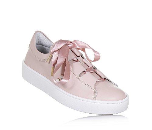 Twinset Milano Twin-Set Rosa Schuh Aus Leder, Romantischer Stil, auf der Vorderseite ein Rosa Band, Mädchen, Damen-40