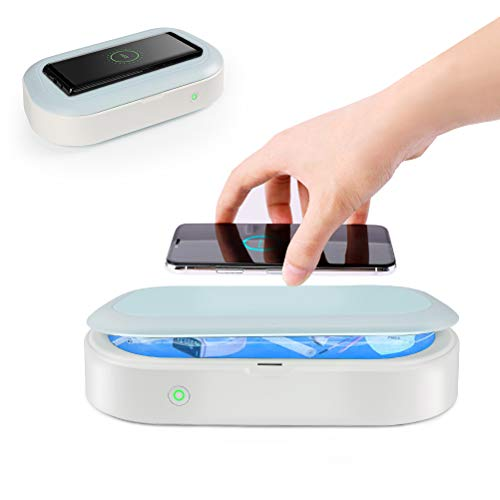 UV Light Sanitizer Box, UV Phone Sanitizer, Portable UV Light with 15w Wireless Charging Electric Cleaner Case for iOS Android Smartphone, Jewelry, Watches, Keys, Wallet, Purse