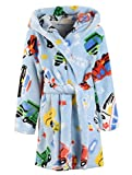 Boys Bathrobe, Hoodie Cartoon Car Fleece Robe Pajamas Plush Sleepwear Bathrobe for Toddlers & Little Boys, Car Blue, 9-10 Years = Tag 150