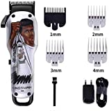 XDHN Cortapelos para Hombres Profesional Funk Clipper Oil Head Charging/Mains Dual Use Graffiti Personality Silver Hair Clipper Set