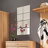 Conjunto de azulejos de espejo de pared decorativos Wohaga® de 8 piezas, cada uno mide 20,5 x 20,5 cm