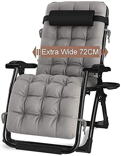 Silla reclinable para Exteriores Zero Gravity con portavasos, Tumbona Ajustable Extra Ancha para Patio, jardín, Piscina, Playa, con Soporte de Cojines 200 kg (Gris + Tubo Negro)