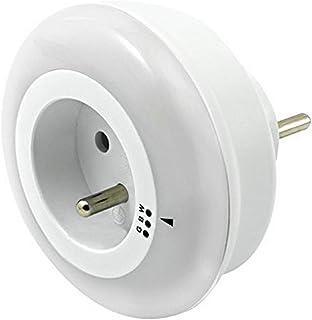 Brennenstuhl Veilleuse LED avec prise électrique intégrée, couleur d'éclairage sélectionnable (bleu/vert/blanc) et capteur...