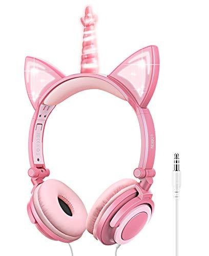 LOBKIN Einhorn Kopfhörer Kinder, Faltbares Kinder Kopfhörer mit LED Leuchtende Katzenohren, 3,5mm Audio Anschluss, Kabel Leicht-Kopfhörer für Kinder (Peach)