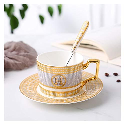 JSJJARF Tazas de café Conjunto de café Copa de café Conjunto de té Hueso de Porcelana China Drink Tazas de café y platillos Conjuntos Cerámicos Regalo de cumpleaños (Kapazität : (200ml))