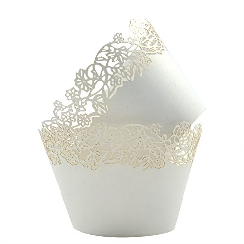 Cupcake Wrappers Pack of 50 White Filigree Artistic Bake Cake Paper Cups Little Vine Lace Laser Cut Liner Baking Cup Muffin Case Trays for Wedding Party Birthday Decoration -By KEIVA (White)