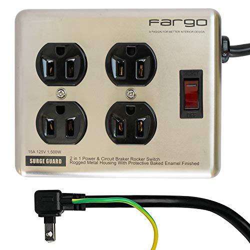 Fargo おしゃれ インテリア スチールタップ 鉄製 電源タップ 延長コード 雷サージ 雷ガード スイッチ付 コンセント プラグ 電気ケーブル 電気コード 3ピン 2ピン 4個口 1.8m
