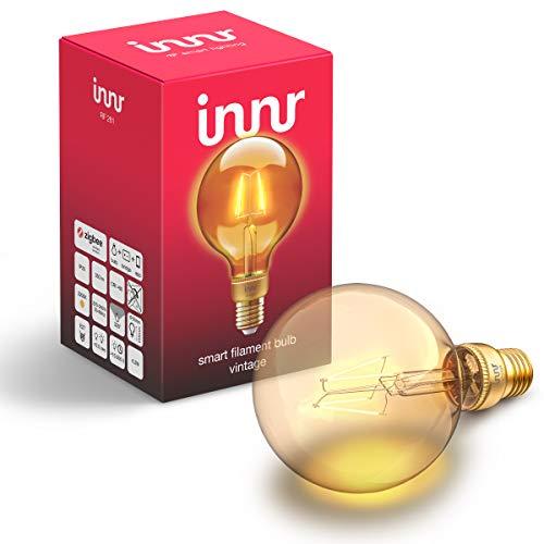 Innr E27 filament ampoule LED connectée Vintage, compatible avec Philips Hue* & Alexa (hub connecté requis) Globe G95, 2200K, RF 261