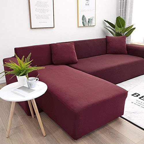 Allenger Funda Sofa Elastica Protector Adaptable,para Sala De Estar Cubierta De Sofá De Spandex Elástico Toalla De Sofá Elástica En Forma De L-Burgundy_190-230Cm