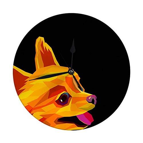 Butty Reloj de Pared Moderno Perro Grande Spitz Raza de Cachorro Animal Linda Mascota Divertido Amigo Reloj Redondo Digital
