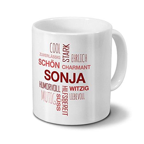 Tasse mit Namen Sonja Positive Eigenschaften Tagcloud - Rot - Namenstasse, Kaffeebecher, Mug, Becher, Kaffeetasse