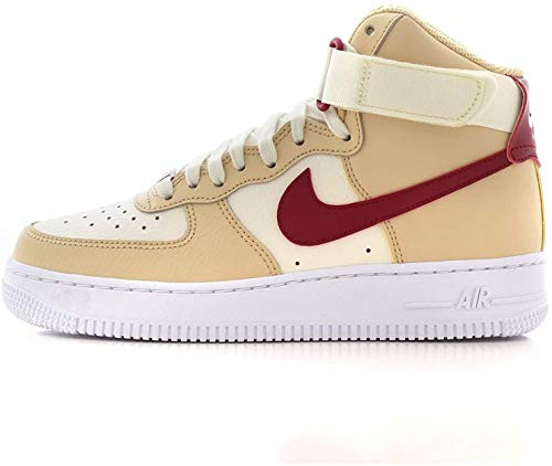 Nike Damen WMNS Air Force 1 High Basketballschuh, White Onyx Noble Red Pale Ivory White, 38 EU