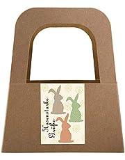 Logbuch-Verlag 5 małych koszy z uszami z papieru typu kraft z naklejkami wielkanocnymi w kolorze beżowym – opakowanie prezentowe prezent na Wielkanoc